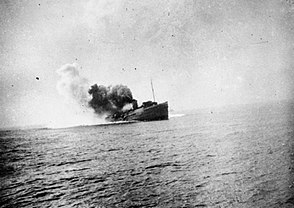 Mona's Queen striking a mine on the approach to Dunkirk, 29 May 1940.