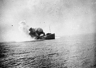 SS Mona's Queen (1934) - Mona's Queen pictured shortly after she struck a mine on the approach to Dunkirk, 29 May 1940.