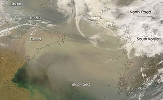 Yellow Sea - Satellite image of a dust storm over East Asia on 2 March 2008