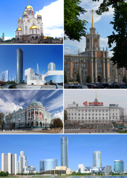 Clockwise from top right: City Administrative Building, Ural State College, Yekaterinburg City, Sevastyanov's House, Boris Yeltsin Presidential Center, Church of All Saints