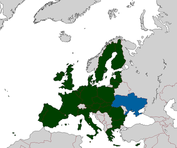 Map of the European Union, along side Ukraine.