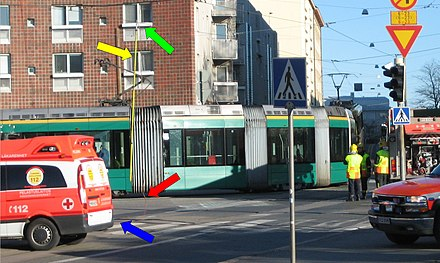 An emergency earth connection (highlighted with arrows) is used to drop the current in the overhead lines to zero. Derailed electric trams are a hazard, as it requires contact with the rails for the current's return path. Earth connection.jpg