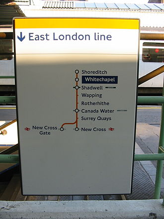 Shoreditch tube station - East London Line sign pictured before the closure of Shoreditch