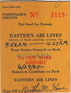 Eastern Air Lines - EAL 1935 ticket