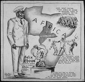 History of Chad - Félix Éboué in a contemporary World War II cartoon