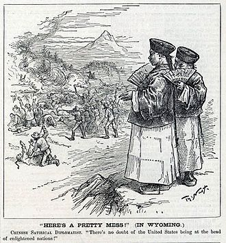 Rock Springs massacre - Thomas Nast's 1885 editorial cartoon applies a detail from Goya's The Third of May 1808 to the Rock Springs riot. The cartoon's caption quotes The Mikado.