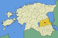 H θέση του Τάρτου στο χάρτη της Εσθονίας