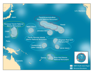Pacific Remote Islands Marine National Monument - The previous (2011) boundaries of the Pacific Remote Islands Marine National Monument are outlined in light blue.