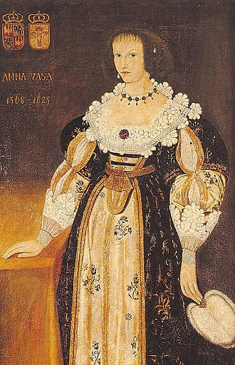 Anna Vasa of Sweden - Anna dressed according to French fashion, the ladies of the Polish court dressed in Spanish fashion