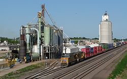 Elm Creek, Nebraska with train 3.JPG