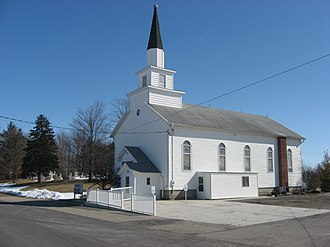 National Register of Historic Places listings in Shelby County, Ohio - Image: Emanuel Lutheran Church of Montra, blue sky