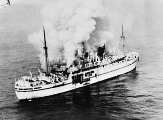 HMT Empire Windrush - An aerial photograph of the burning Empire Windrush, March 28–29, 1954