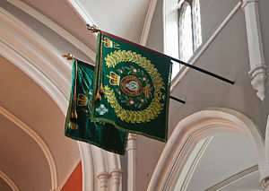 Faugh A Ballagh - Regimental colours of the Royal Irish Regiment IV in St. Macartin's Cathedral carrying the motto Faugh A Ballagh