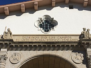 Santa Barbara County Courthouse - Image: Entrance slogan Santa Barbara County Courthouse