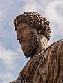 Equestrian statue Marcus Aurelius replica, head, Capitole, Rome, Italy.jpg