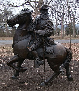 James Longstreet - Equestrian statue of General Longstreet on his horse Hero in Pitzer Woods at Gettysburg National Military Park, Gettysburg