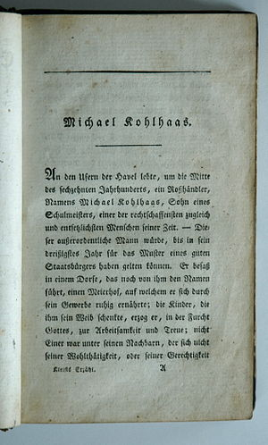 Michael Kohlhaas - Opening of the novella, first edition, 1810