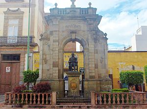 "Francisco Eduardo Tresguerras - Statue dedicated to the celayense architect, Francisco Eduardo Tresguerras. Statue built over the street seeing the side of one of his opus, the Temple of the Our Lady of Mount Carmel, better known in Mexico as ""La Virgen del Carmen""."