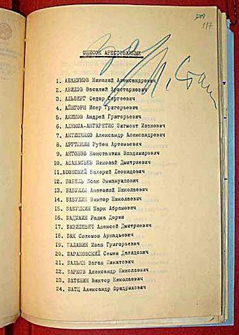 Список арестованных с именем Бабеля (№12). Пометка «за» и подпись Сталина