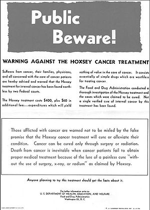 Hoxsey Therapy - Food and Drug Administration warning regarding use of the Hoxsey method, released April 1956