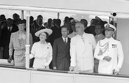 The Roosevelts with King George VI and Queen Elizabeth, sailing from Washington, D.C., to Mount Vernon, Virginia, on the USS Potomac during the first U.S. visit of a reigning British monarch (June 9, 1939)