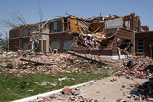 Tornado outbreak of May 4–6, 2007 - The destroyed Greensburg High School after the tornado.