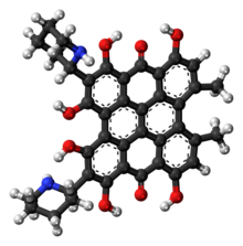Ball-and-stick model of the fagopyrin molecule