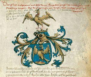 Counts of Falkenstein (Bavaria) - Falkenstein coat of arms, Codex Falkensteinensis (1166)