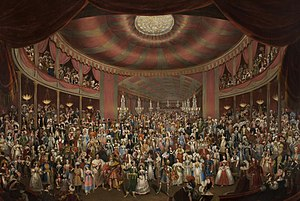 Costume party - Manchester fancy dress ball of 1828, painting by Arthur Perigal