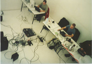 Live electronic music - Farmers Manual 2002, performing laptronica