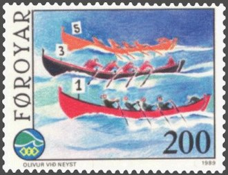 Island Games - Faroese stamp to the 1989 Island Games: Rowing