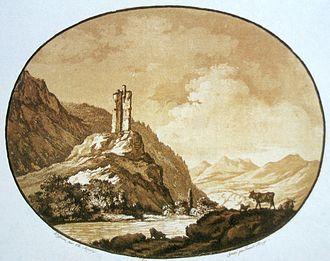 Felsberg, Switzerland - Ruins of Felsberg castle, today no longer visible