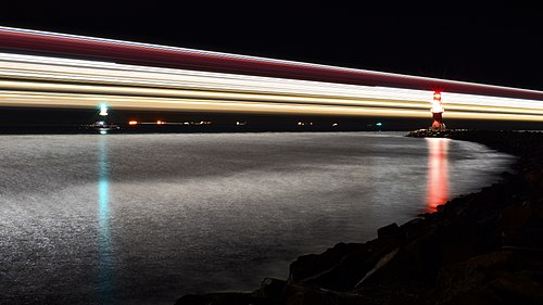 Ferry light trail, Rostock.jpg