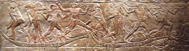 Saqqara tomb relief of fisherman jousting (early 6th Dynasty, c. 2345–2320 BC) – Egyptian Fisherman Jousting (Water Jousting)