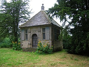 Charles Cotton - Charles Cotton's Fishing House built in 1674) on the Banks of the River Dove. Cotton lived in nearby Beresford Hall and practised his sport on the trout and grayling of the River Dove.