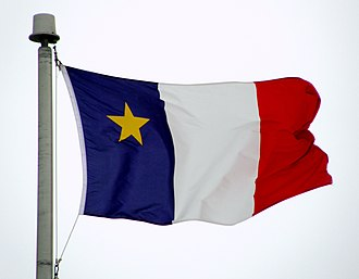 Flag of Acadia - The flag of Acadia flying in Moncton, New Brunswick