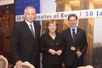 Ivo Sanader - Ivo Sanader with German chancellor Angela Merkel and Finnish prime minister Jyrki Katainen at EPP Summit on 24 March 2007