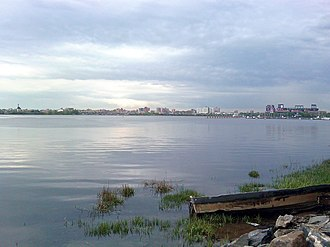 Flushing Bay - Looking east at Flushing Bay from the promenade near LaGuardia Airport.