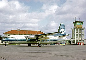 Groningen Airport Eelde - An NLM Fokker F.27 Friendship on a national flight in March 1967 showing the terminal and facilities.