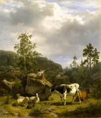Forest Landscape with a Shepherd Boy and Cattle