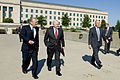 Former Secretary of Defense Donald H. Rumsfeld, left, and Secretary of Defense Robert M. Gates, second from left, walk to the Pentagon conference center to attend Rumsfeld's portrait unveiling ceremony June 25 100625-D-JB366-010.jpg