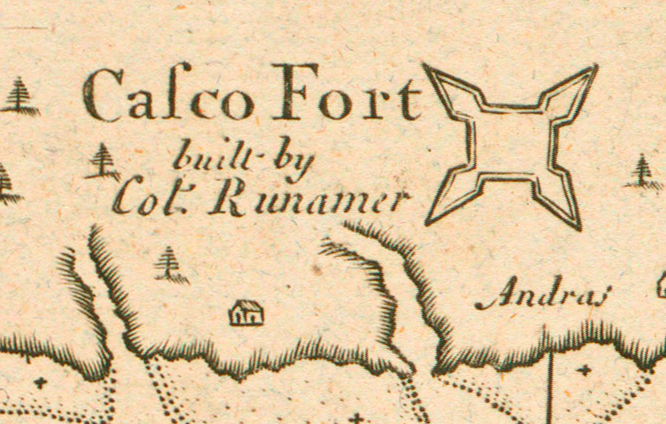 Fort Casco, Brunswick, Maine by Cyprian Southack, 1720 map inset
