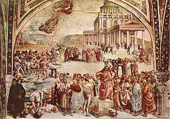 Fresco of the Deeds of the Antichrist (c.1501) in Orvieto Cathedral.