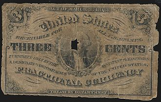 Three-cent nickel - A worn three-cent fractional currency note of 1864