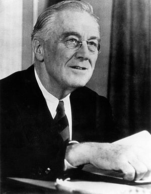 Weekly Radio Address of the President of the United States - Franklin D. Roosevelt after giving one of his fireside chats. The predecessor to the Weekly Address.