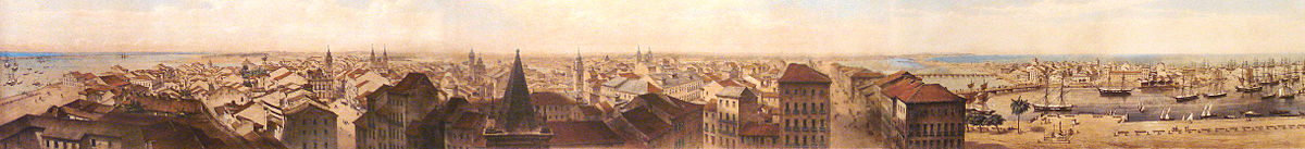 Panorama do Recife em 1855, por Friedrich Hagedorn.