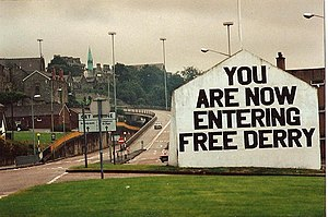 No-go area - Free Derry Corner, the gable wall which once marked the entrance to Free Derry