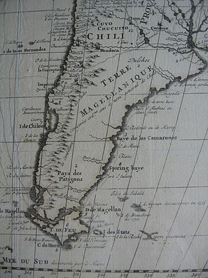 History of the Falkland Islands - French map, c. 1710, illustrating the fragmentary knowledge about the islands of the South Atlantic at the time. 'Anycan' is most probably a corruption of Hawkin's