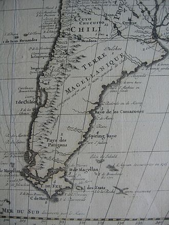 French map, c. 1710, illustrating the fragmentary knowledge about the islands of the South Atlantic at the time. 'Anycan' is most probably a corruption of Hawkin's French map of South America, c. 1710.jpg