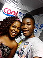 From left, Chika(host of the Clash Of The Titans Gameshow,Abuja studio) and Winston,the most recent winner- 2014-01-07 12-45.jpg